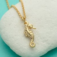 Personalised Gold Plated Seahorse Necklace