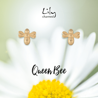 Gold Plated Bee Stud Earrings with 'Queen Bee' Message - Lily Charmed Gifts