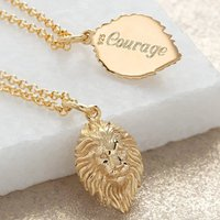 Engraved Gold Plated Lion Head Necklace