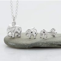 Silver Elephant Jewellery Set With Stud Earrings - Lily Charmed Gifts