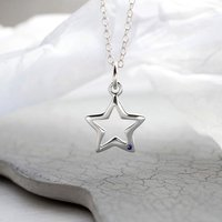 Personalised Silver And Sapphire Open Star Necklace