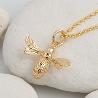 Personalised Gold Plated Bee Necklace