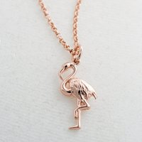 Personalised Rose Gold Plated Flamingo Necklace - Flamingo Gifts