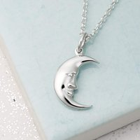 Personalised Silver Moon Necklace - Lily Charmed Gifts