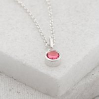 Personalised October Birthstone Necklace (Pink Tourmaline) - Birthstone Gifts