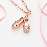 Personalised Rose Gold Plated Ballet Shoes Necklace