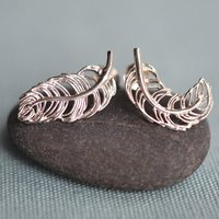 Silver Feather Stud Earrings - Lily Charmed Gifts