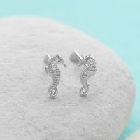 Silver Seahorse Stud Earrings - Lily Charmed Gifts
