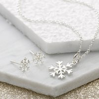 Silver Snowflake Jewellery Set With Stud Earrings - Lily Charmed Gifts