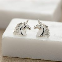 Silver Unicorn Stud Earrings
