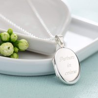 Engraved Silver Oval Locket Necklace