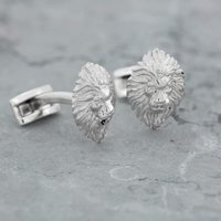 Silver Lion Head Cufflinks - Lily Charmed Gifts