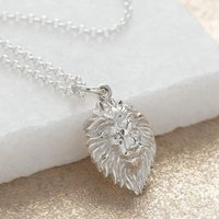 Engraved Silver Lion Head Necklace