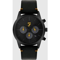 Farah Farah Chrono Watch With Leather Strap In Black
