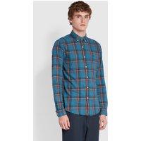 Farah Steen Slim Fit Organic Cotton Check Shirt In Blue