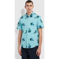 Farah Elena Casual Fit Short Sleeve Palm Print Organic Cotton Shirt In Green