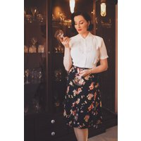 Flare Skirt in Black Mayflower , Authentic and Classic 1940s Vintage Inspired Style