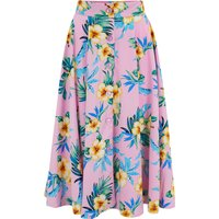 """The """"Beverly"""" Button Front Full Circle Skirt with Pockets in Pink Hawaiian Print, True 1950s Vintage Style"""