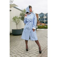 """Authentic 1940s and 50s Style """"Vintage Rain Mac and Headscarf/Bonnet"""" in Blue Gingham by Elements Rainwear"""
