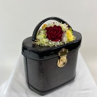 Classic Vintage Style Charlotte Handbag In Classic Black with Christmas Blooms