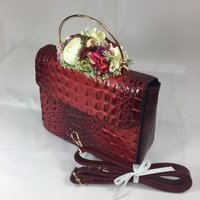 Classic Vintage Style Moc Croc Clara bag In Vintage Red