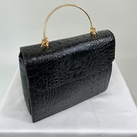 Classic Vintage Style Moc Croc Clara bag In Black