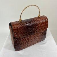 Classic Vintage Style Moc Croc Clara bag In Brown Tan