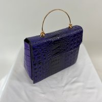 Classic Vintage Style Moc Croc Clara bag In Purple