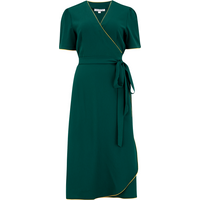 """The """"Cora"""" Full Wrap Dress in Green with Mustard Contrast Piping, Perfect 1950s Style"""