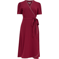 """The """"Cora"""" Full Wrap Dress in Wine with Ivory Contrast, Perfect 1950s Style"""