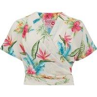 "The ""Darla"" Short Sleeve Wrap Blouse in Natural Honolulu Print, True Vintage Style"
