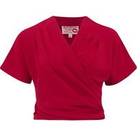 """The """"Darla"""" Short Sleeve Wrap Blouse in Red, True Vintage Style"""