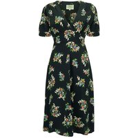 """""""Dolores"""" Swing Dress in Black Floral Dancer, A Classic 1940s Inspired Vintage Style"""