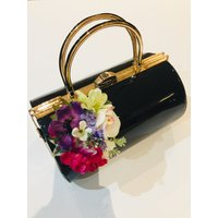 Vintage Inspired Emma Barrel Hand Bag in Black