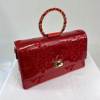 Vintage Inspired Elegant Evie Handbag In Poppy Red