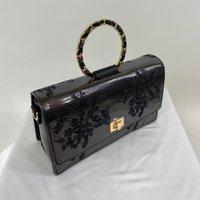 Vintage Inspired Elegant Evie Handbag In Slate Black
