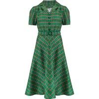 """Lisa"" Tea Dress in Green Taffeta Tartan, Authentic 1940s Vintage Style"