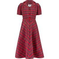 """Lisa"" Tea Dress in Red Taffeta Tartan, Authentic 1940s Vintage Style"