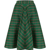 """""""Isabelle"""" Skirt in Green Taffeta Tartan, Classic and Authentic 1940s Vintage Inspired Style"""