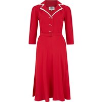 Long sleeve Lisa - Mae Dress in red with contrast under collar, Authentic 1940s Vintage Style at its Best