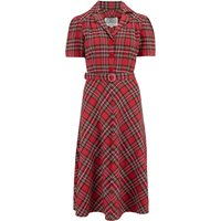 """""""Lisa"""" Tea Dress in Traditional Red Tartan, Authentic 1940s Vintage Style"""