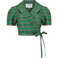 """Greta"" Wrap Blouse in Green Taffeta Tartan, Classic 1940s Vintage Inspired Style"