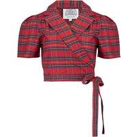 """Greta"" Wrap Blouse in Red Taffeta Tartan, Classic 1940s Vintage Inspired Style"