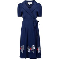 """""""Peggy"""" Wrap Dress in Navy Blue With Large Hand Stitched Bow, Classic 1940s Style"""