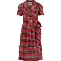 """""""Peggy"""" Wrap Dress in Traditional Red Tartan , Authentic 1940s Vintage Style"""