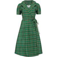 """Peggy"" Wrap Dress in Green Taffeta Tartan, Classic 1940s Vintage Style"