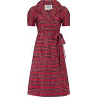 """Peggy"" Wrap Dress in Red Taffeta Tartan, Classic 1940s Vintage Style"