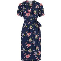 """""""Peggy Ruffle"""" Wrap Dress In Navy Mayflower, Classic 1940s True Vintage Style"""