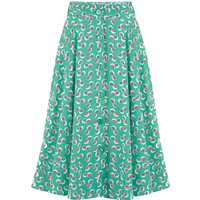 """""""Beverly"""" Button Front Full Circle Skirt with Pockets in Green Abstract Polka Print, Authentic 1950s Tiki Vintage Style"""