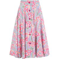 """""""Beverly"""" Button Front Full Circle Skirt with Pockets in Pacific Garden Print, Authentic 1950s Tiki Vintage Style"""